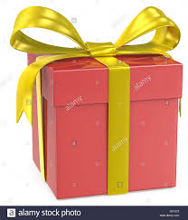 gold ribbons christmas gift box classic gift box with gold ribbons stock