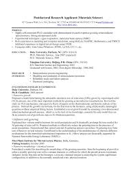 Research Job Resume Phd Cv Postdoctoral Research