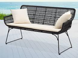 canape de jardin canapé de jardin en fils de résine tressés noirs matira