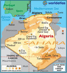 algeria physical map geography of algeria landforms desert world atlas