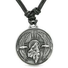 wolf necklace pendant images Amulet howling wolf eagles wild moon powers charm jpg