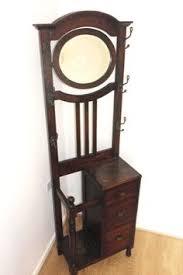 antique walnut mirror hall stand hat coat rack 1 drawer umbrella