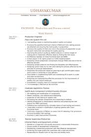 Work Experience In Resume Sample by Production Engineer Resume Samples Visualcv Resume Samples Database