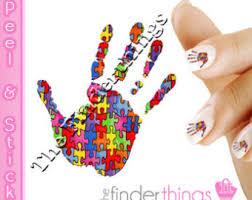light it up blue autism awareness puzzle piece nail art decal