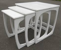 white nest of tables nest of three painted 1960 s retro coffee tables