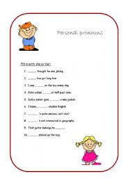 english teaching worksheets personal pronouns