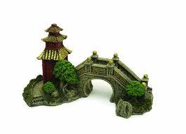 Asian Themed Fish Tank Decorations Rosewood Japanese Garden Bridge Aquarium Ornament Amazon Co Uk