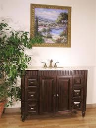 Real Wood Bathroom Cabinets by Georgina Single Traditional 48 Inch Walnut Finish Marble Top