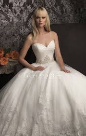 seller white lace and applique ball gown wedding dress with long