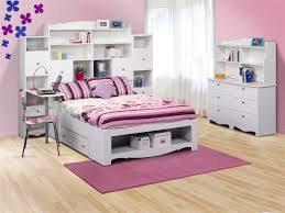 Wooden Beds With Drawers Underneath Bedroom Girls Bedroom With White Wooden Bed With Bookcase