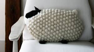 knitted bobble sheep pillows free knitting pattern