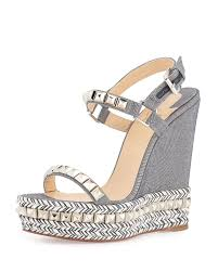 christian louboutin cataclou studded denim espadrille wedge