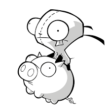 invader zim gir coloring pages kids coloring
