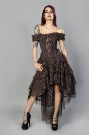 ophelie burlesque corset dress in brown king brocade and brown