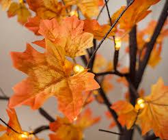 led lighted tree yellow orange maple leaves 6 ft warm white