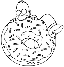 home simpson with donut coloring pages print coloring pages free