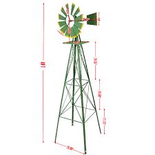 windmill ornamental wind wheel 8ft garden weather vane yard