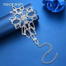 bracelet color crystal images Silver colour crystal floral ankle bracelet born jpg