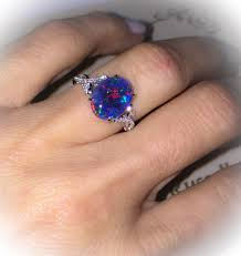 black opal natural black opal ring 18k white gold u0026 genuine diamonds rare