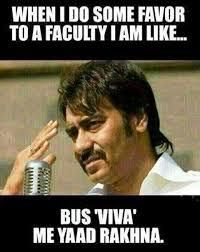 Hindi Meme Jokes - engineering student viva vs faculty funny ajay devgun pics