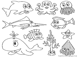 Water Animals Coloring Page Free Download Coloring Page Of