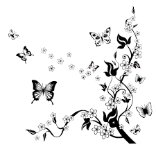 Butterfly Office Decor Black Wall Mural Decal Wall Stickers Butterfly Flowers Tree Home