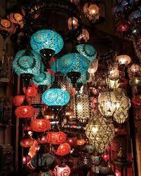 turkish handmade 7 blue balls moroccan mosaic hanging lamp lantern