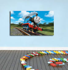 thomas train stretched canvas print framed wall art kids nursery