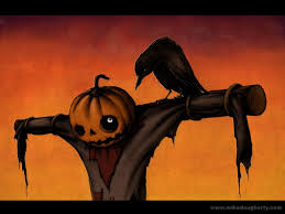 halloween background crow scarecrow with a jack o lantern head and crow friend keen on