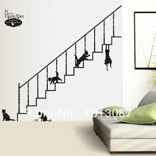 Naughty Decorations Naughty Black Cat Sticker Stairs Wall Stickers Daycare Wall