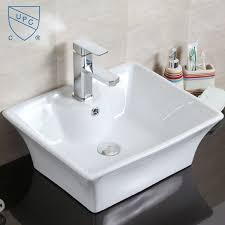 decoraport white rectangle ceramic above counter basin vessel