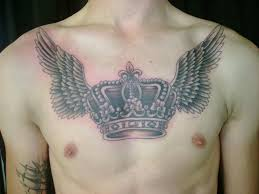 with wings meaning wing chest tattoos for with crown