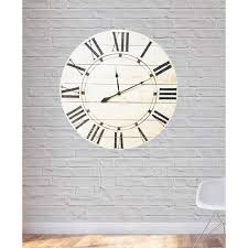 oversized clocks 24 in x 24 in vintage white farmhouse oversized wall clock 024rilw