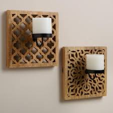 carved wood wall carved wood wall sconce candleholders set of 2 world market