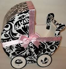 damask and pastel pink carriage table centerpiece gift box