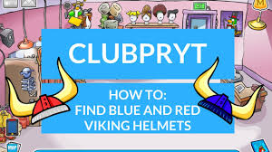 club penguin rewritten finding blue and red viking helmets