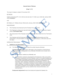 Termination Letter From Employer To Employee by Deed Of Release Sample Lawpath