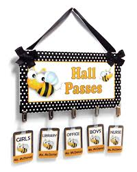 classroom busy bees themed hall passes wall or door sign