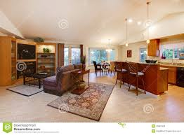spacious living room kitchen and dining area stock photos image