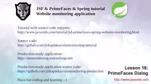 tutorial java primefaces jsf primefaces spring tutorial 18 primefaces dialog javavids