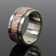 men s wedding bands crafted mens white gold and copper wedding band by earth