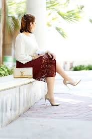 penciled beauty burgundy lace skirt basic blouse special