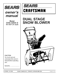 craftsman snow blower c950 52930 0 user guide manualsonline com