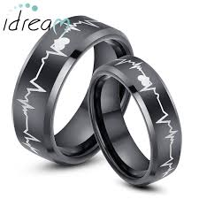 his and hers engagement rings black tungsten wedding bands set for women men hearts and