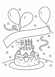 birthday cake and balloons coloring page for kids holiday