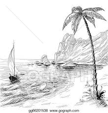 vector art sea beach boat and palm tree vector sketch clipart