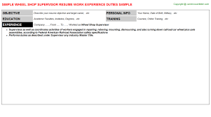 exle of a simple resume shop supervisor resume sle template format