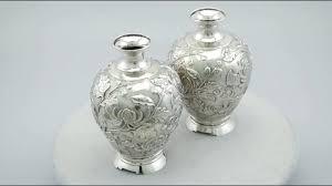 Silver Vases Japanese Silver Vases Antique Circa 1900 Ac Silver A8541