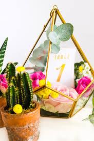 terrarium table diy terrarium table numbers gold bespoke bride wedding blog