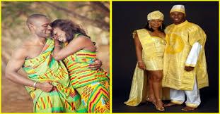 tenue africaine pour mariage couples mariés en tenue traditionnelle africaine